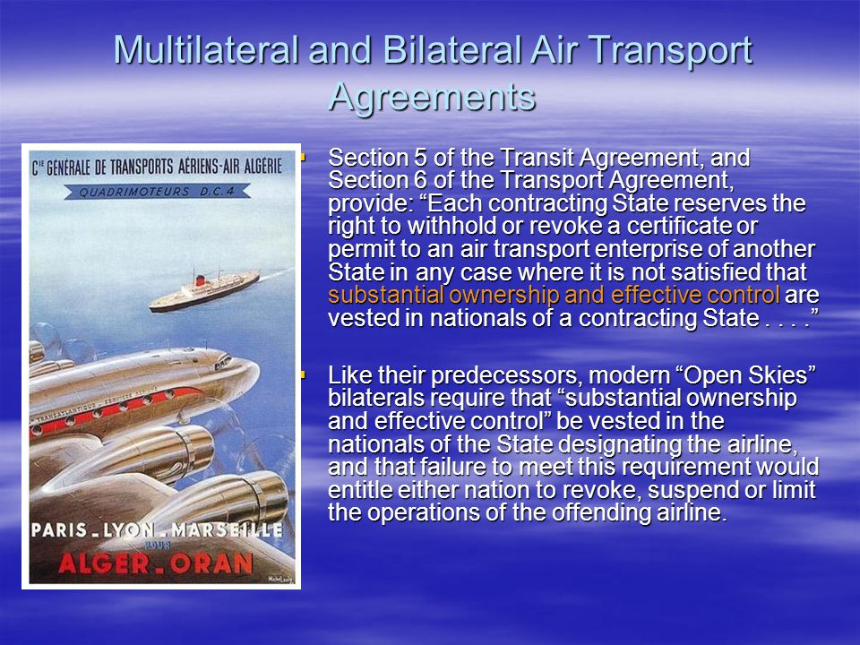 Multilateral and Bilateral Air Transport Agreements