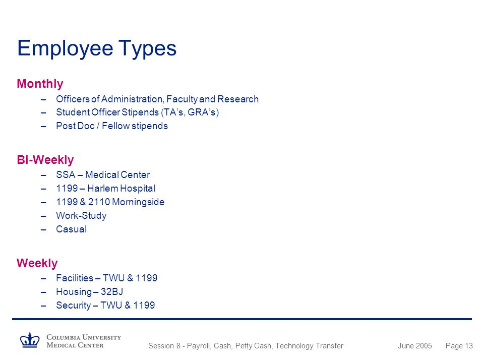Employee Types Monthly Bi-Weekly Weekly