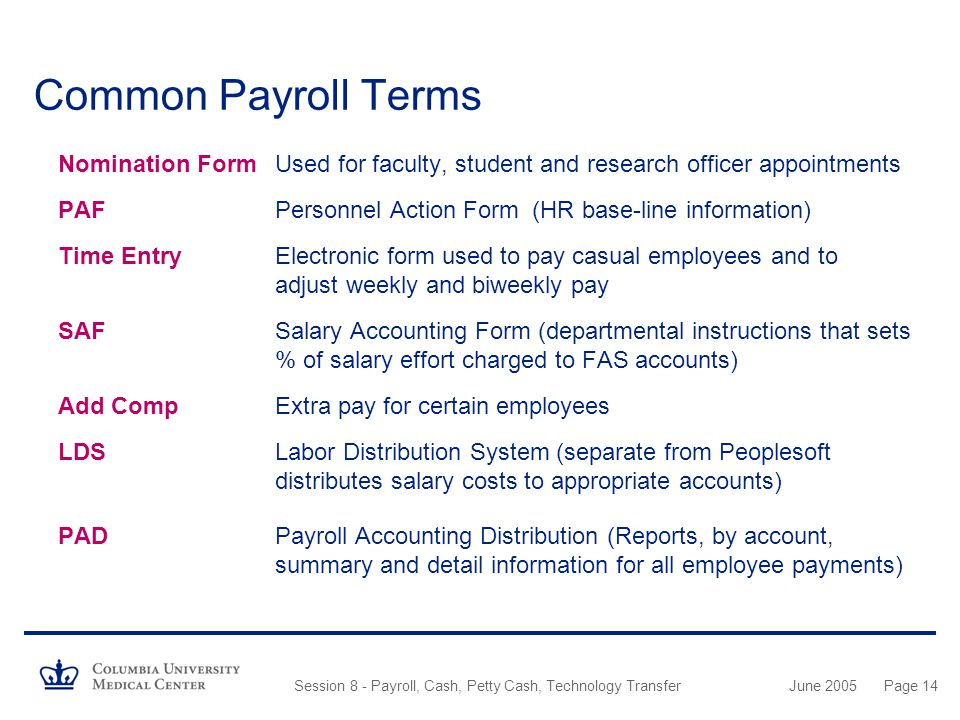 Common Payroll Terms Nomination Form Used for faculty, student and research officer appointments.