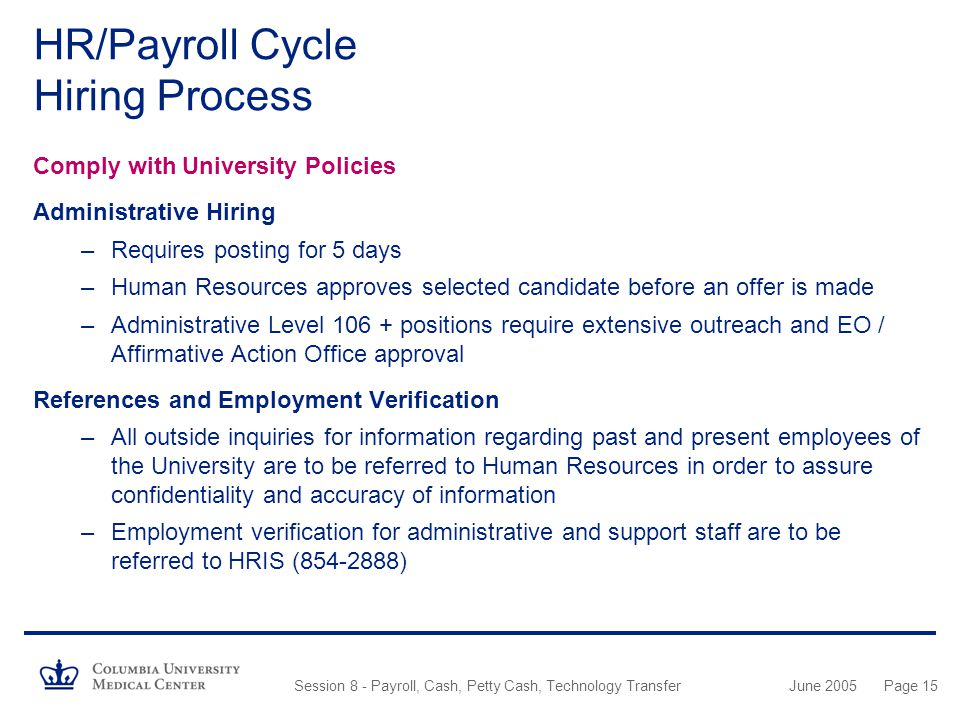 HR/Payroll Cycle Hiring Process