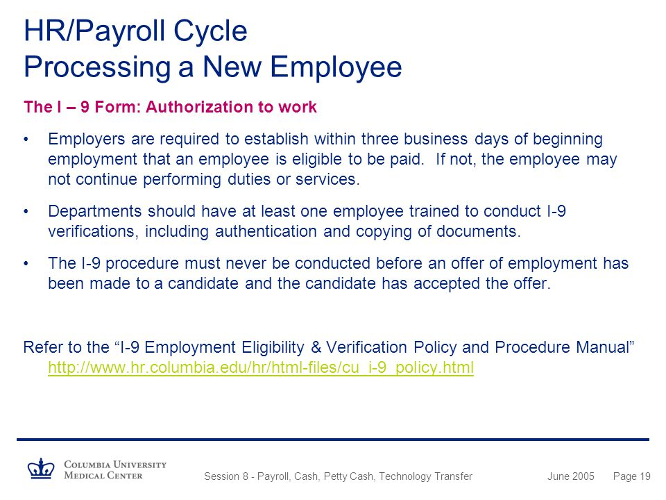 HR/Payroll Cycle Processing a New Employee