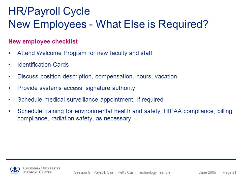 HR/Payroll Cycle New Employees - What Else is Required