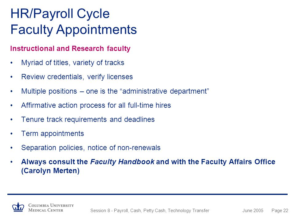 HR/Payroll Cycle Faculty Appointments