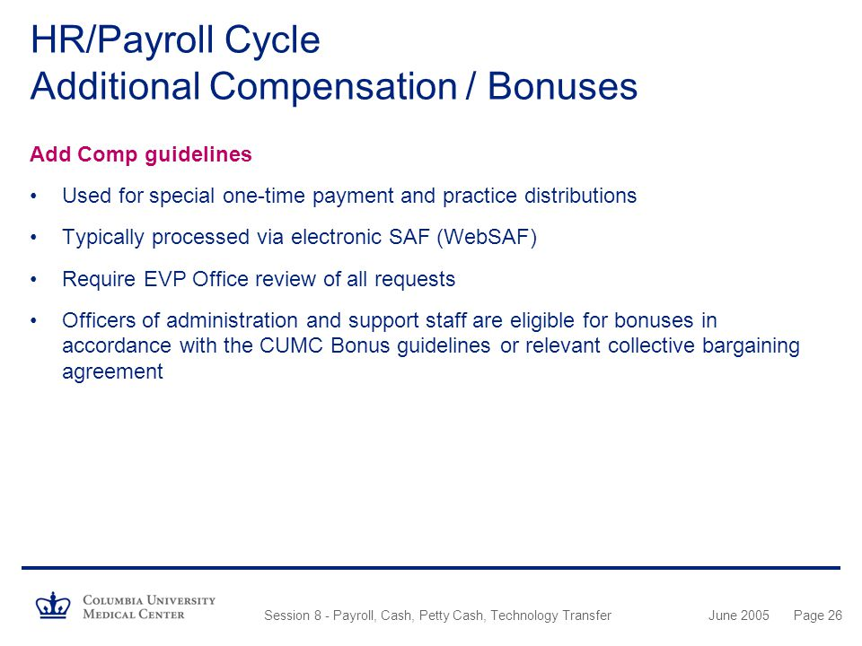 HR/Payroll Cycle Additional Compensation / Bonuses