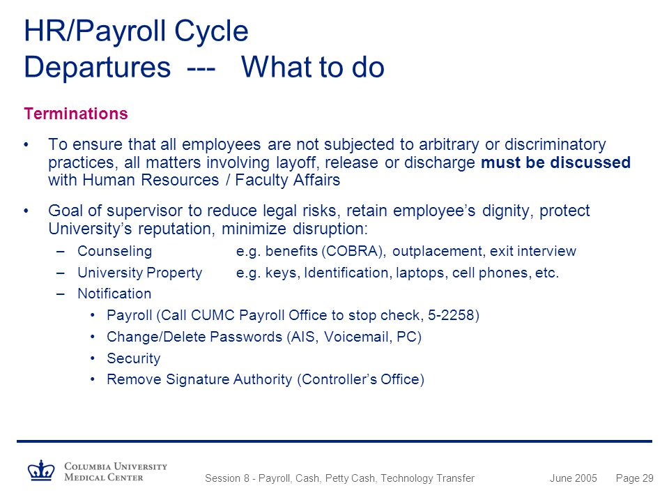 HR/Payroll Cycle Departures --- What to do