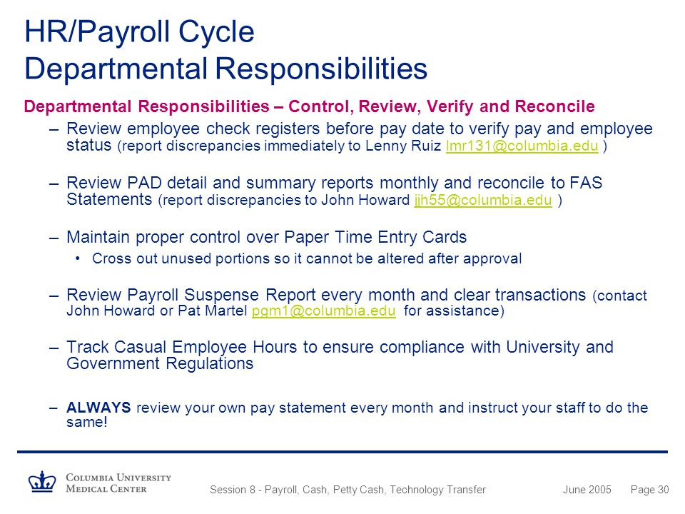 HR/Payroll Cycle Departmental Responsibilities
