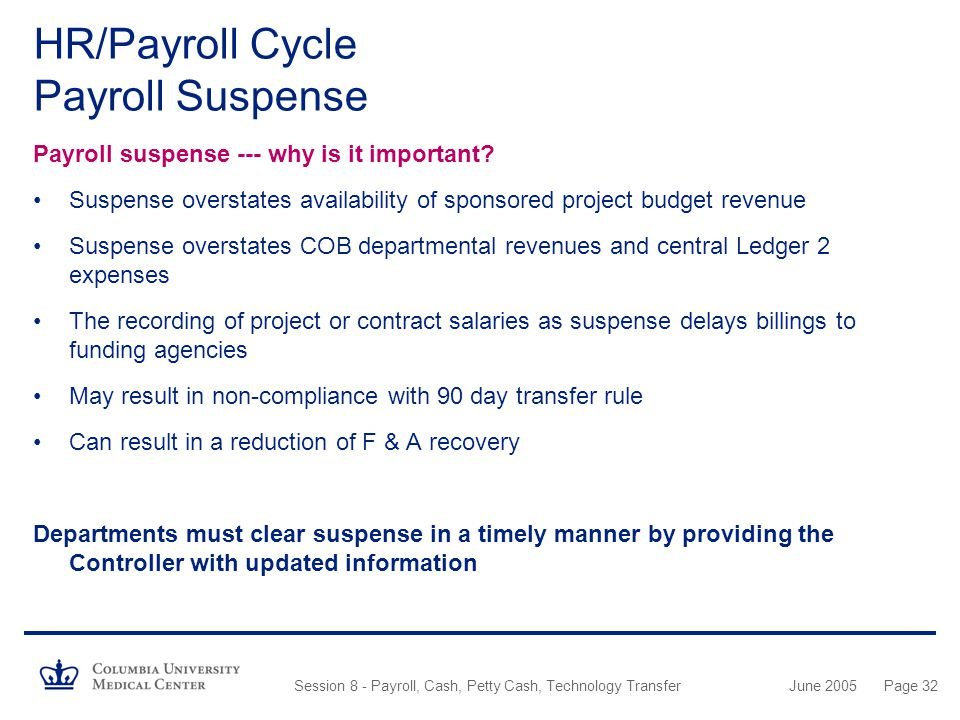 HR/Payroll Cycle Payroll Suspense
