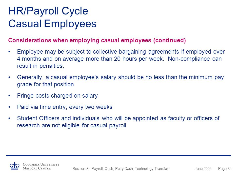 HR/Payroll Cycle Casual Employees