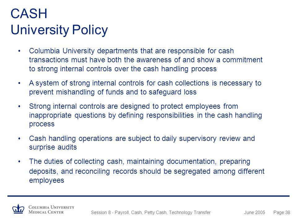 CASH University Policy