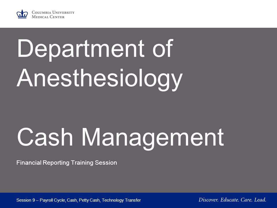 Department of Anesthesiology Cash Management