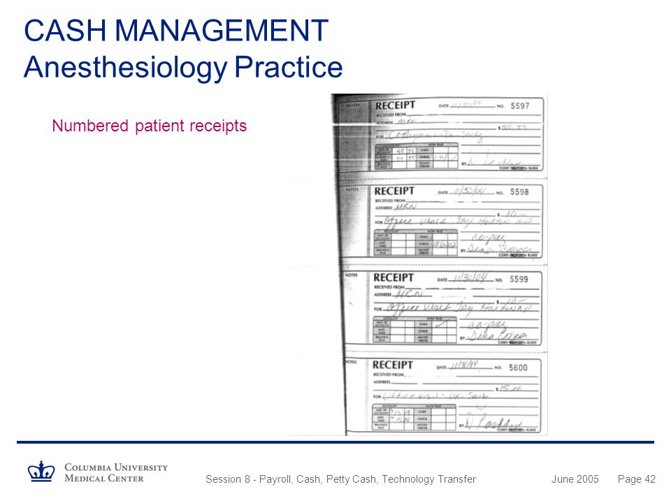 CASH MANAGEMENT Anesthesiology Practice