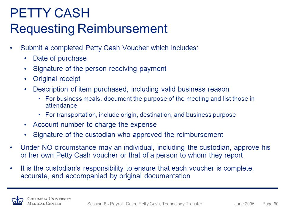 PETTY CASH Requesting Reimbursement