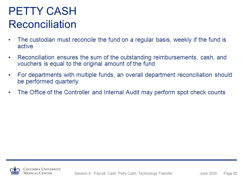PETTY CASH Reconciliation