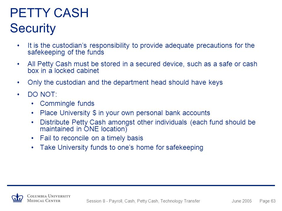 PETTY CASH Security It is the custodian's responsibility to provide adequate precautions for the safekeeping of the funds.