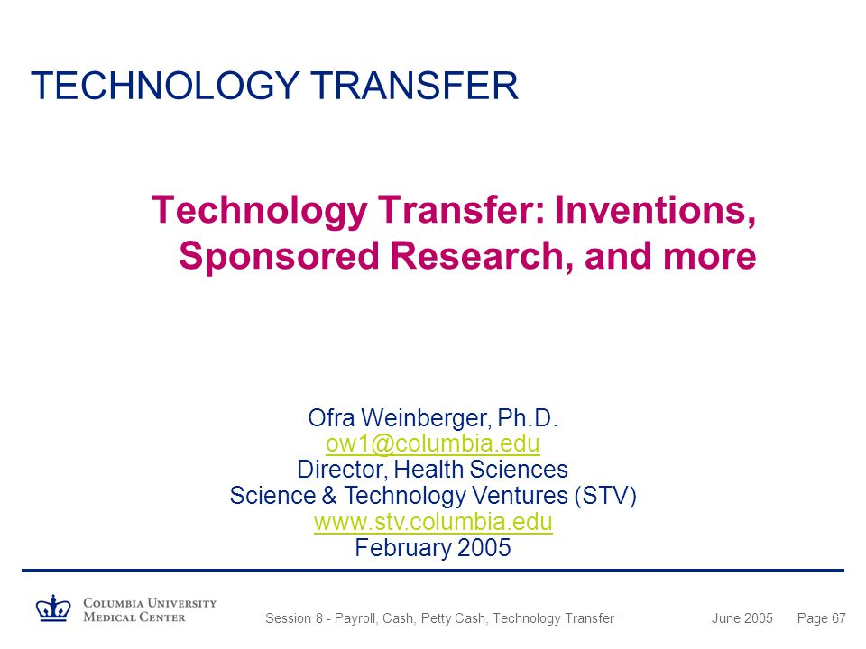 Technology Transfer: Inventions, Sponsored Research, and more