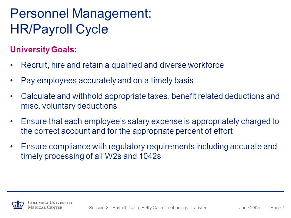 Personnel Management: HR/Payroll Cycle