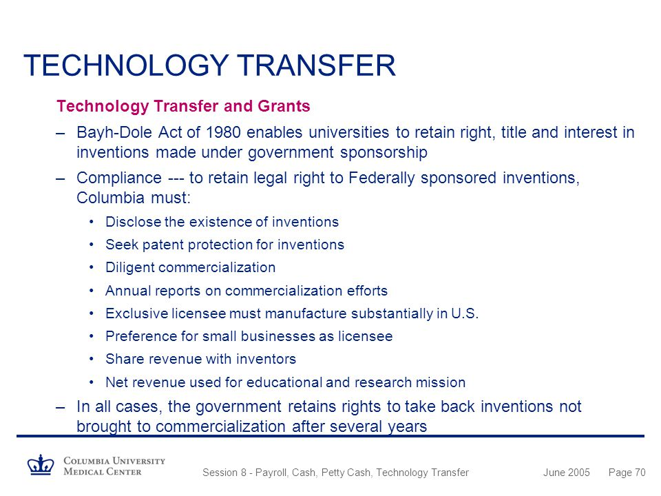 TECHNOLOGY TRANSFER Technology Transfer and Grants