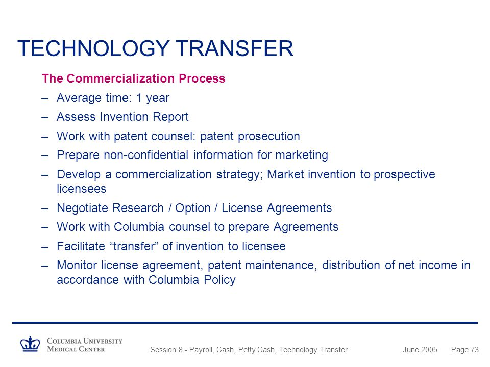 TECHNOLOGY TRANSFER The Commercialization Process Average time: 1 year