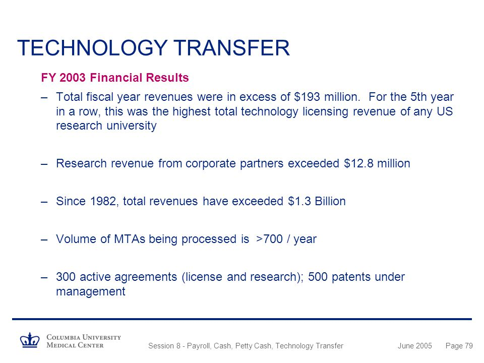 TECHNOLOGY TRANSFER FY 2003 Financial Results