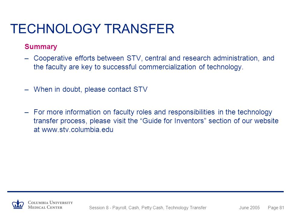 TECHNOLOGY TRANSFER Summary