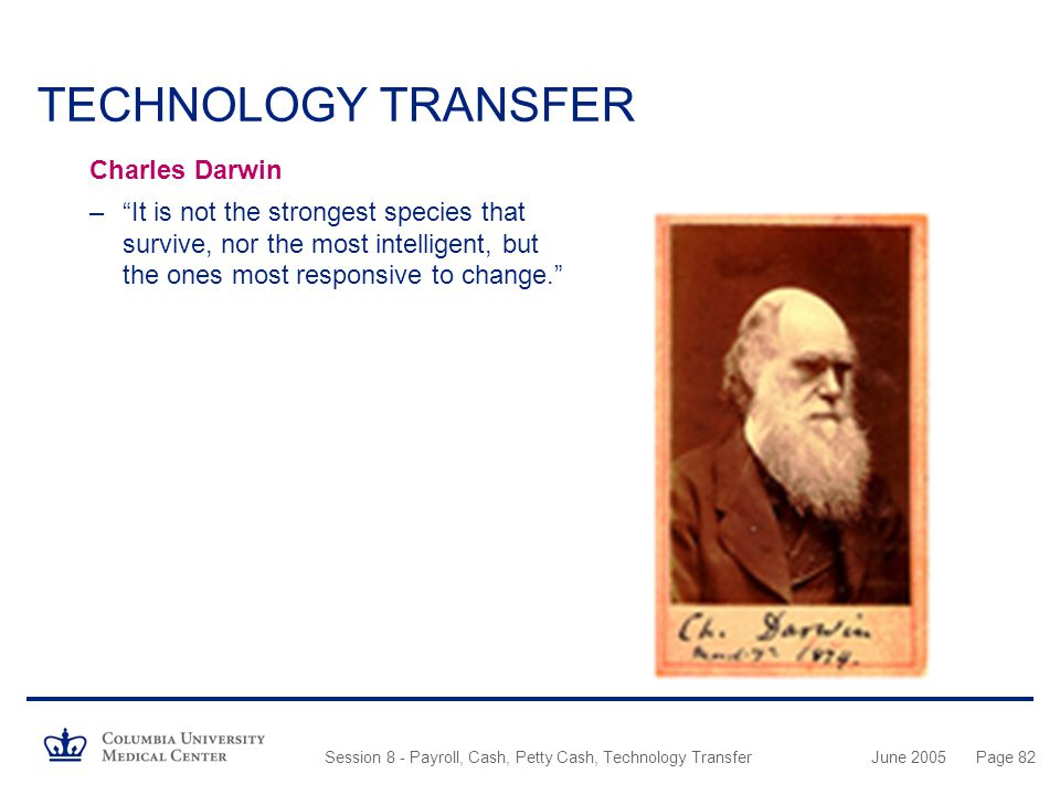 TECHNOLOGY TRANSFER Charles Darwin