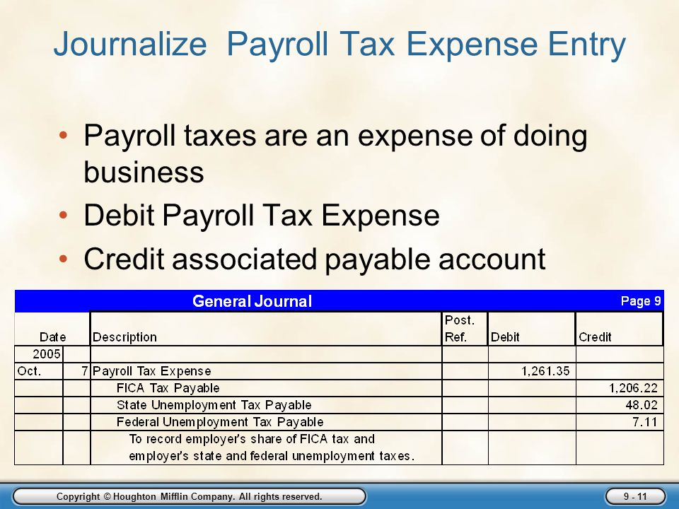Journalize Payroll Tax Expense Entry