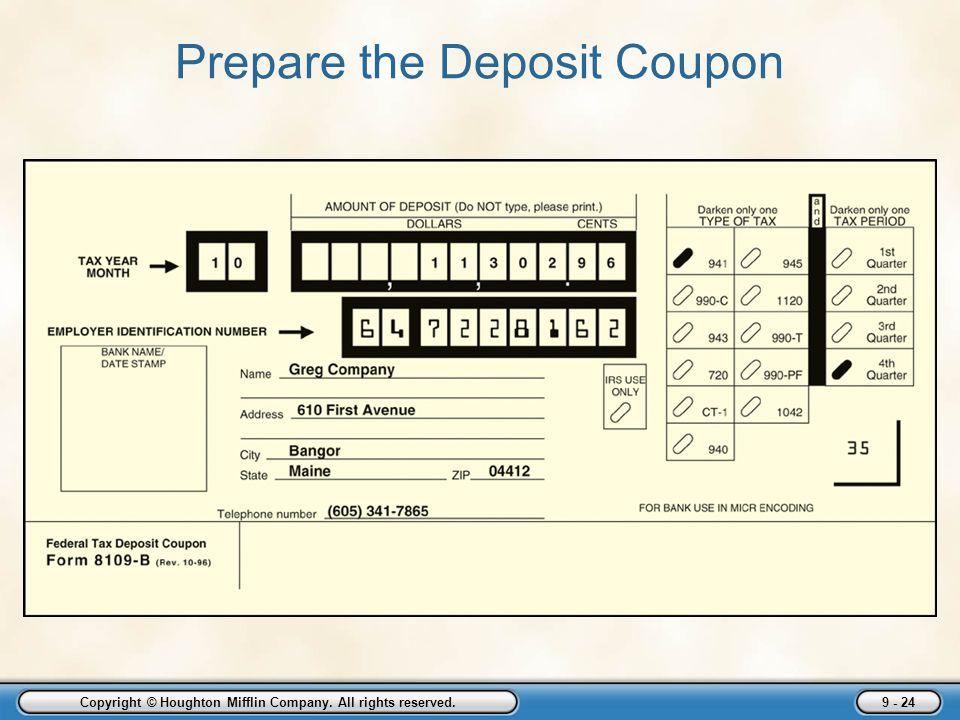 Prepare the Deposit Coupon