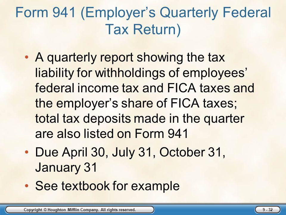 Form 941 (Employer's Quarterly Federal Tax Return)