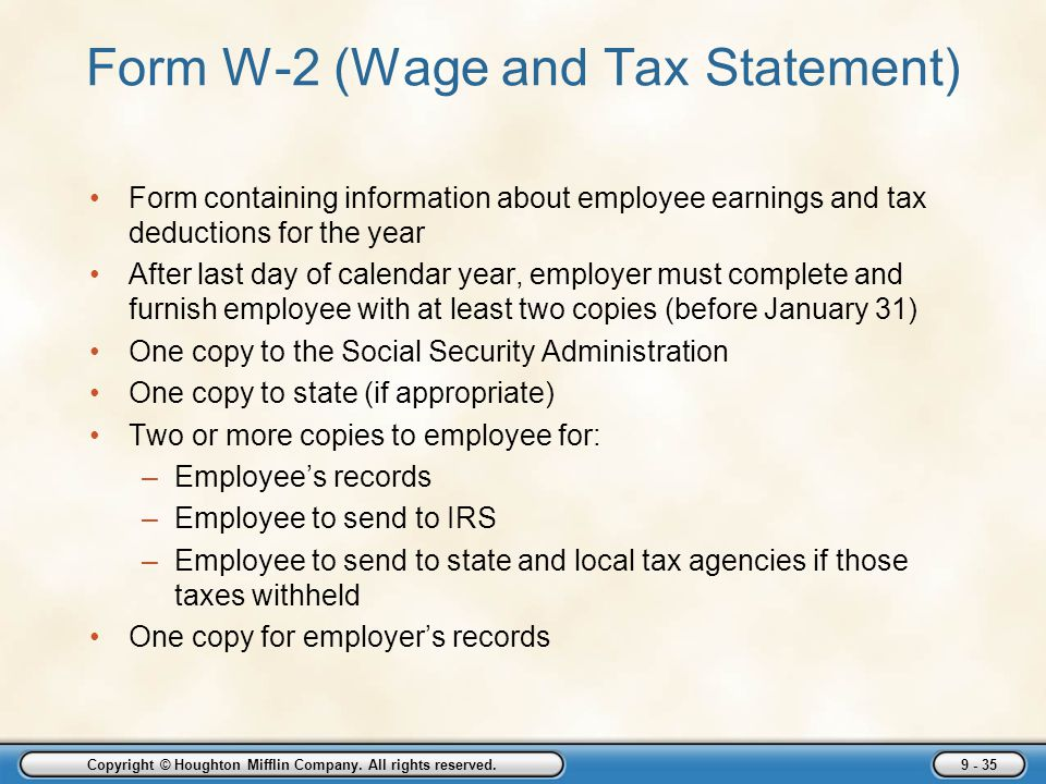 Form W-2 (Wage and Tax Statement)