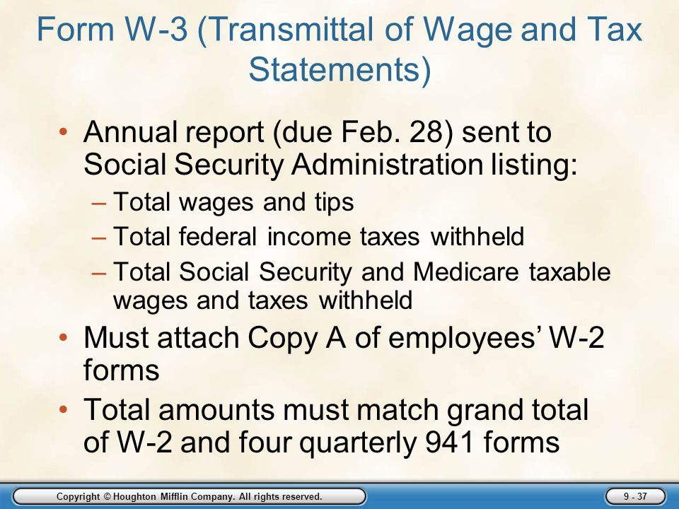 Form W-3 (Transmittal of Wage and Tax Statements)