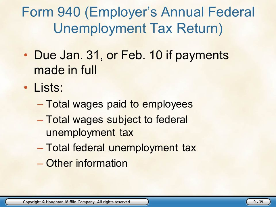 Form 940 (Employer's Annual Federal Unemployment Tax Return)
