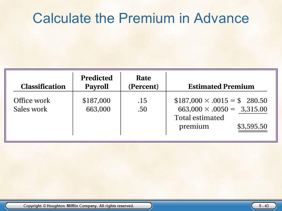 Calculate the Premium in Advance