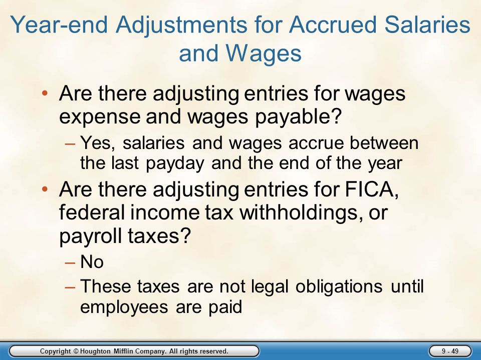 Year-end Adjustments for Accrued Salaries and Wages