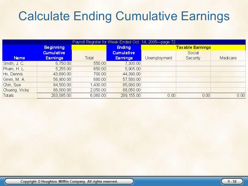 Calculate Ending Cumulative Earnings