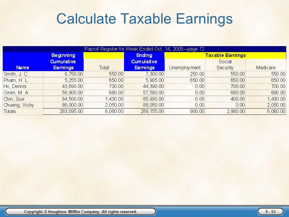 Calculate Taxable Earnings