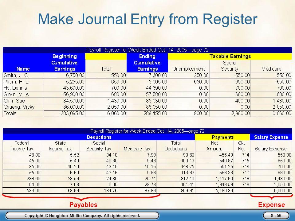 Make Journal Entry from Register