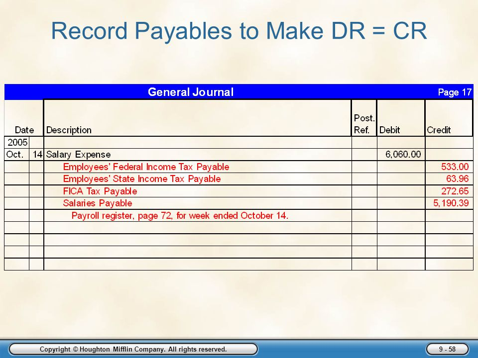 Record Payables to Make DR = CR