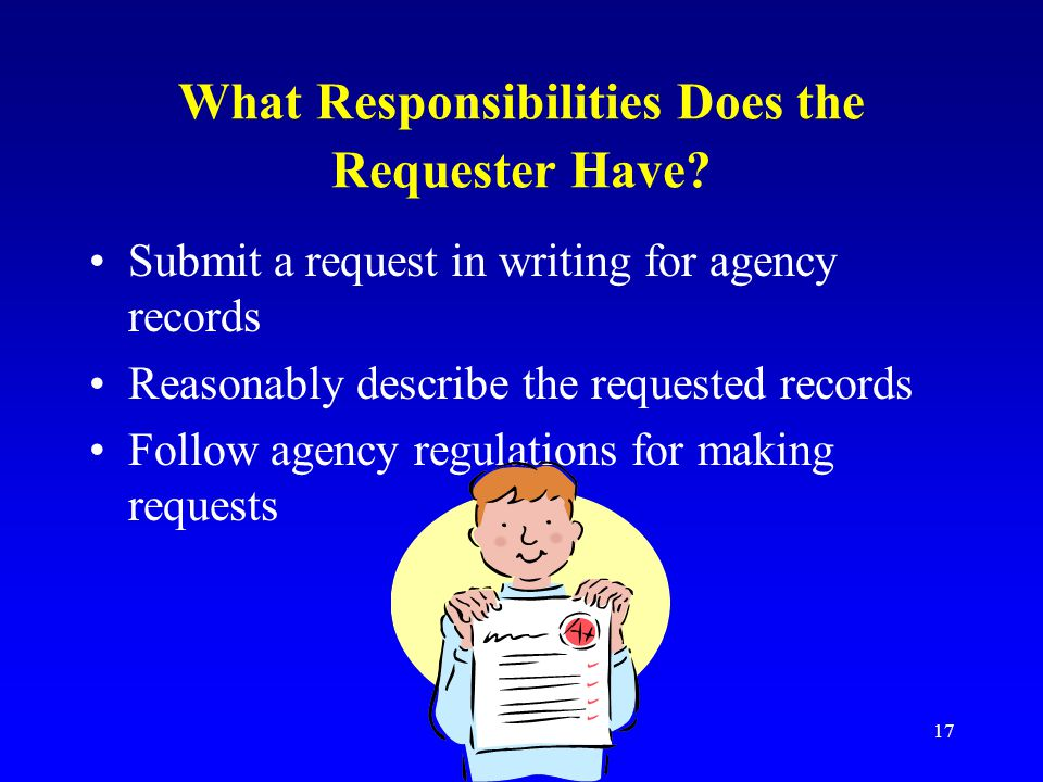 What Responsibilities Does the Requester Have