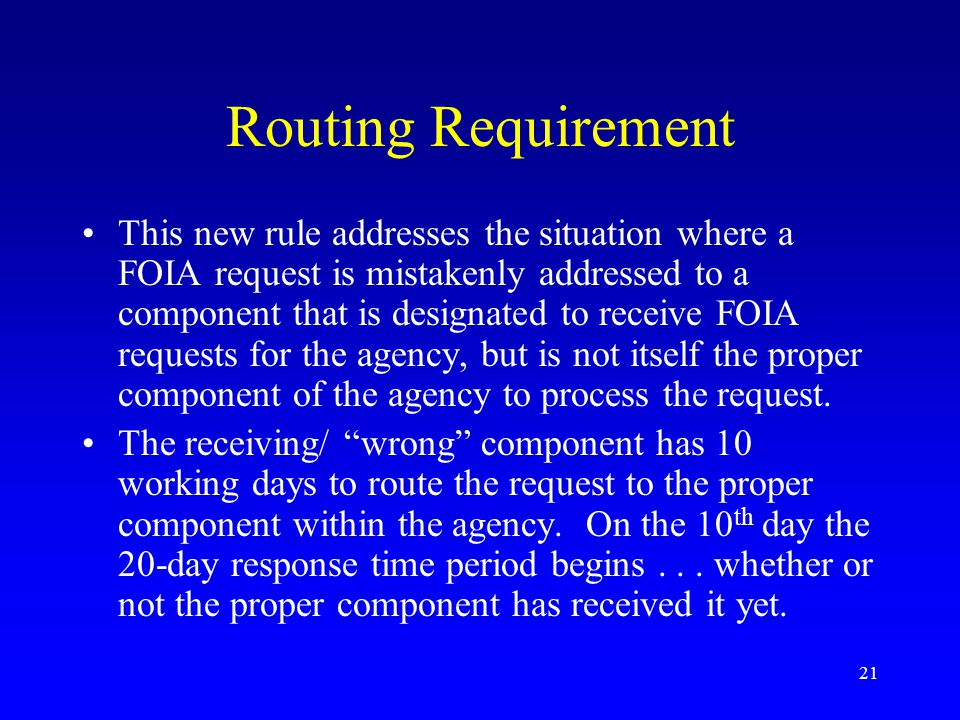 Routing Requirement