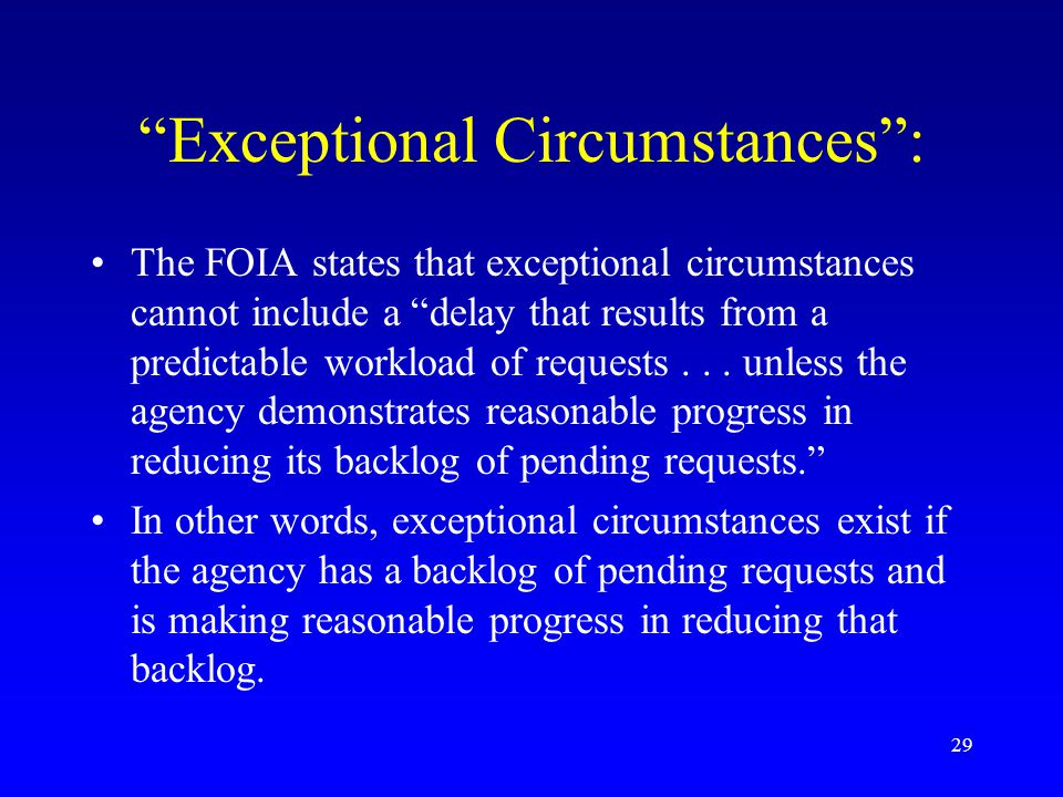 Exceptional Circumstances :