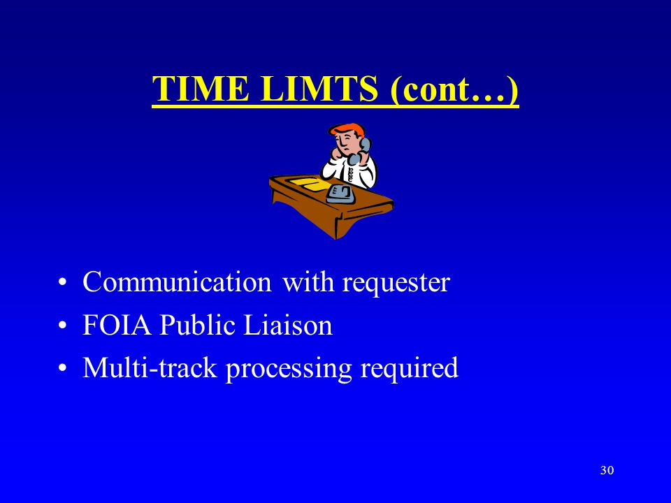TIME LIMTS (cont…) Communication with requester FOIA Public Liaison
