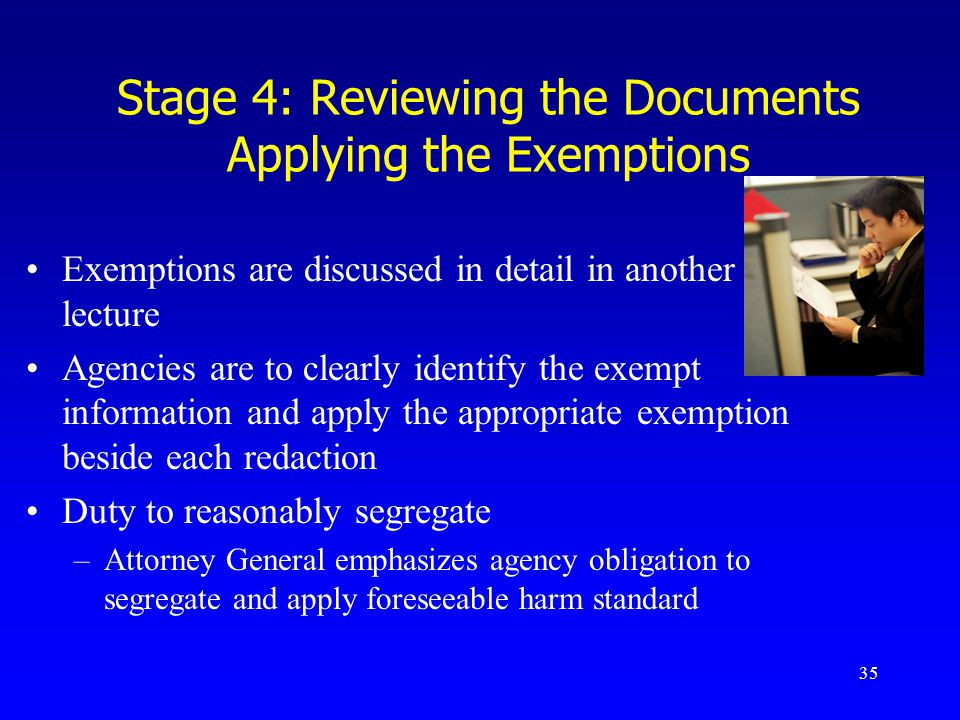 Stage 4: Reviewing the Documents Applying the Exemptions