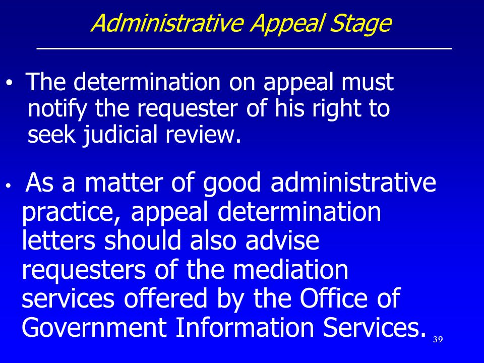 Administrative Appeal Stage