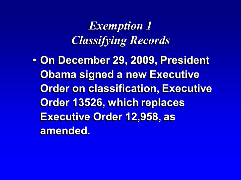 Exemption 1 Classifying Records