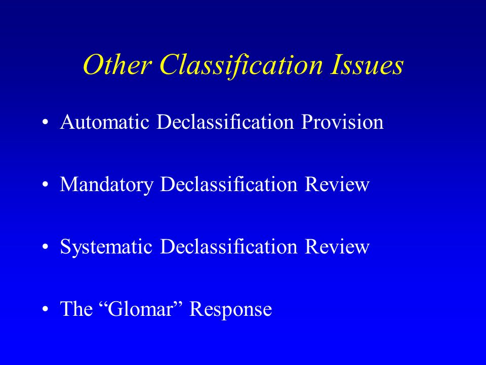 Other Classification Issues