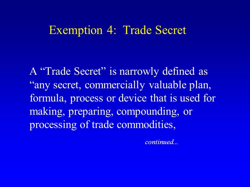 Exemption 4: Trade Secret