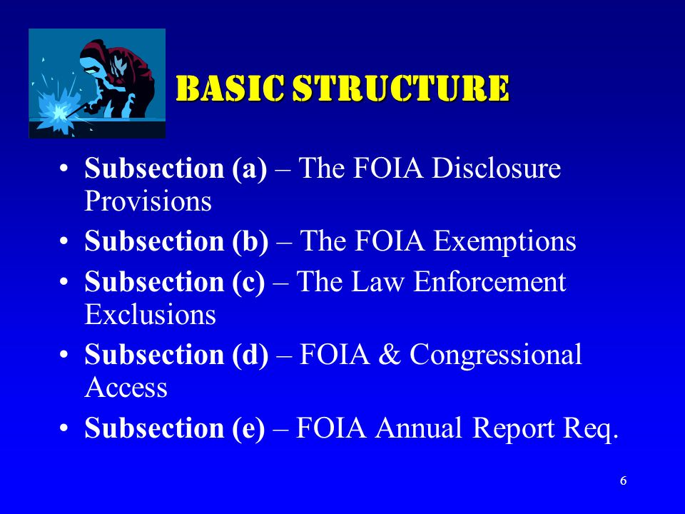 BASIC STRUCTURE Subsection (a) – The FOIA Disclosure Provisions