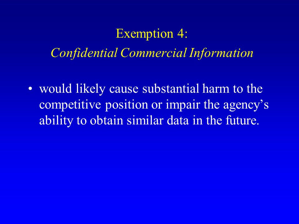 Confidential Commercial Information