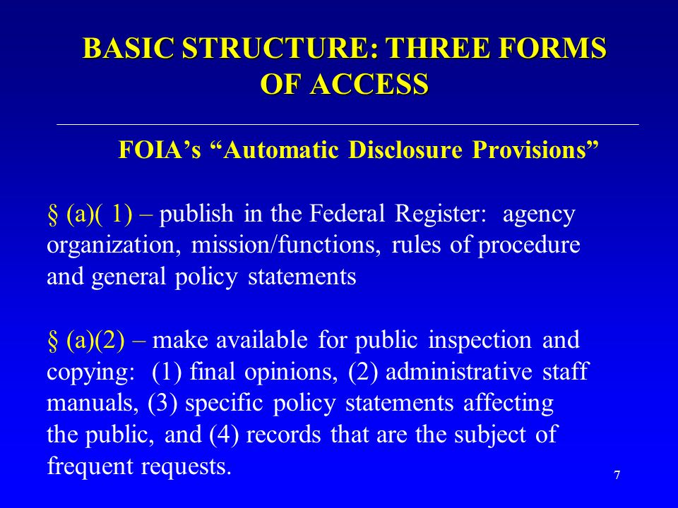 BASIC STRUCTURE: THREE FORMS OF ACCESS