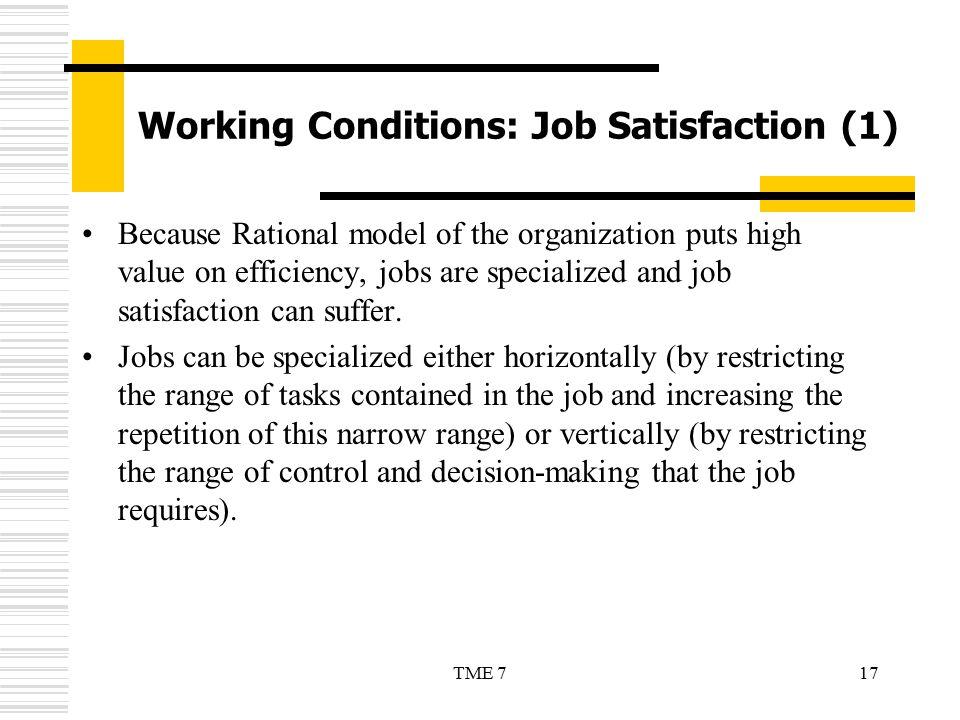 Working Conditions: Job Satisfaction (1)